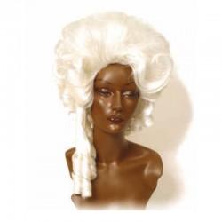 Peluca cabello sintético (fibra) de época hecha a máquina modelo IR-2 estilo Luis XV de Ireal.
