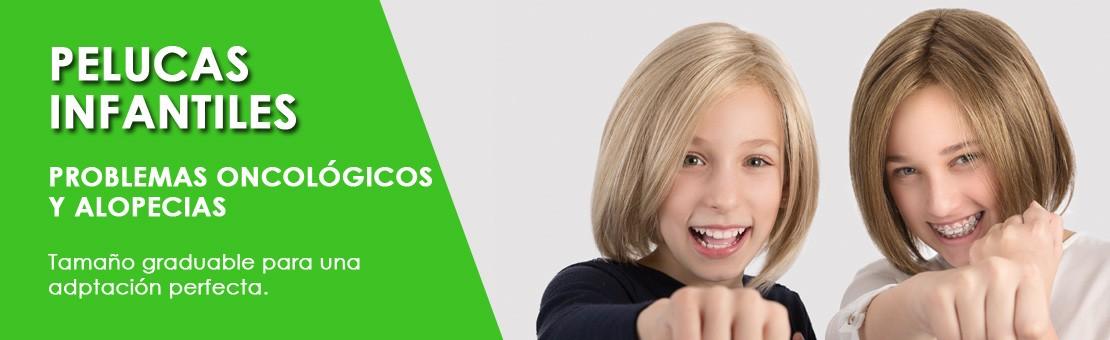 Pelucas infantiles para niños con problemas oncológicos y alopecias. Tamaño graduable para una adptación perfecta.